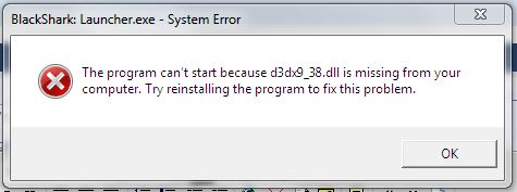 d3dx9_38.dll error of BlackShark
