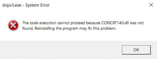 concrt140.dll not found error message window