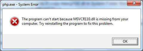 The program can't start because msvcr110.dll is missing from your computer