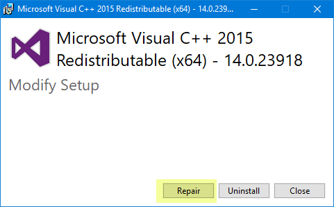 Repair installed Visual C++ 2015 Redistributable package