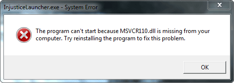 the program can't start because msvcr110.dll is missing error