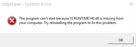 viruntime140.dll missing error